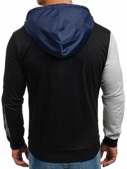 Bluza męska z kapturem z nadrukiem czarna Denley 1110