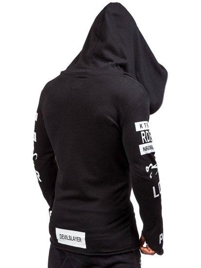 Bluza męska z kapturem z nadrukiem czarna Denley 2036