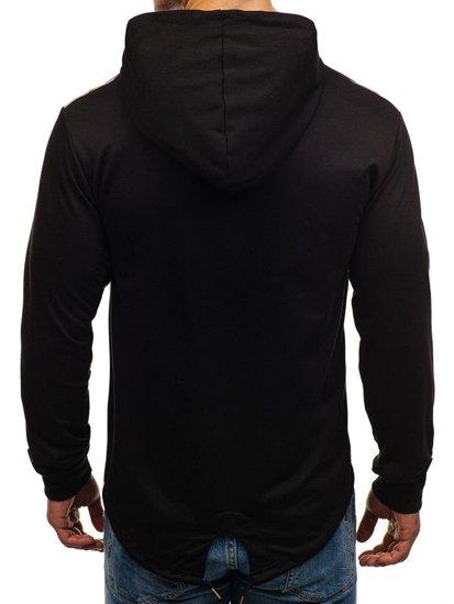 Bluza męska z kapturem z nadrukiem czarna Denley W1717