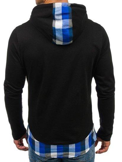 Bluza męska z kapturem z nadrukiem czarno-niebieska Denley 0786