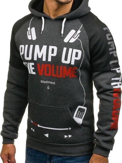 Bluza męska z kapturem z nadrukiem grafitowa Denley 1202-2