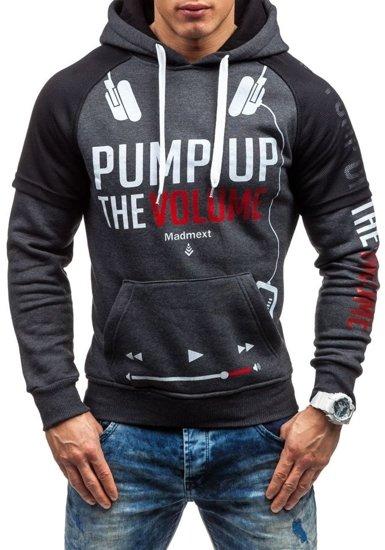 Bluza męska z kapturem z nadrukiem grafitowa Denley 1202