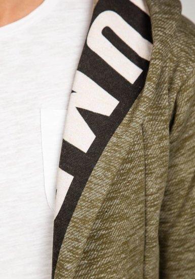 Bluza męska z kapturem z nadrukiem khaki Denley 1773