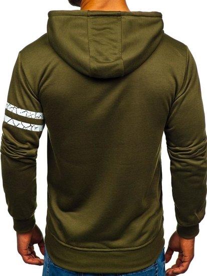 Bluza męska z kapturem z nadrukiem khaki Denley BK01