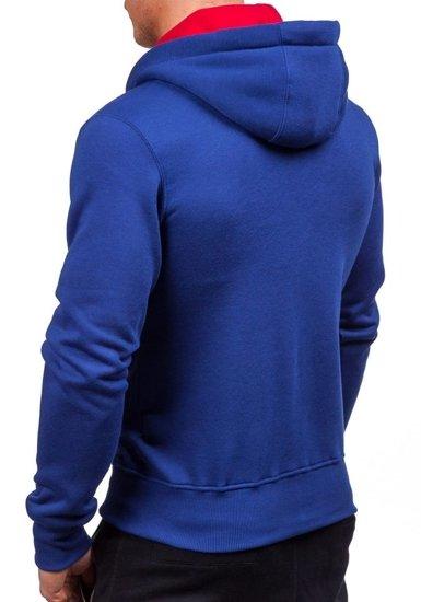 Bluza męska z kapturem z nadrukiem niebieska Denley 1035