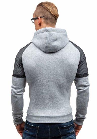 Bluza męska z kapturem z nadrukiem szara Denley 1202-1