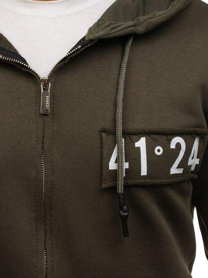 Bluza męska z kapturem z nadrukiem zielona Denley 171552