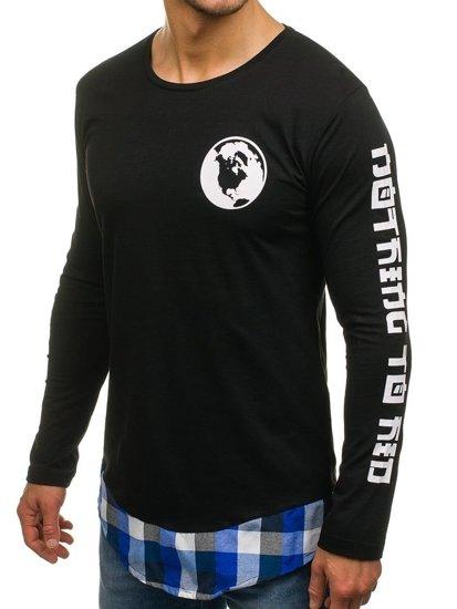Bluza męska z nadrukiem czarno-niebieska Denley 0778