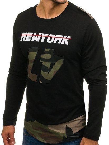 Bluza męska z nadrukiem czarno-zielona Denley 0757