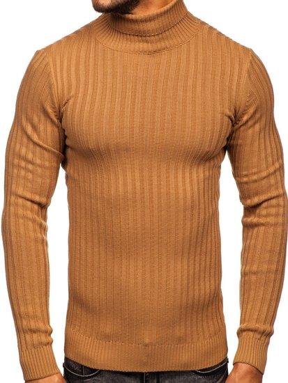 Brązowy sweter męski golf Denley 4602
