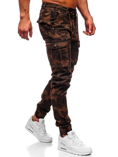 Camelowe spodnie joggery bojówki męskie moro Denley CT6019