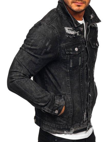 Czarna jeansowa kurtka męska Denley AK588