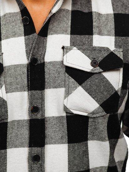 Czarna koszula męska flanelowa z długim rękawem Denley 20723