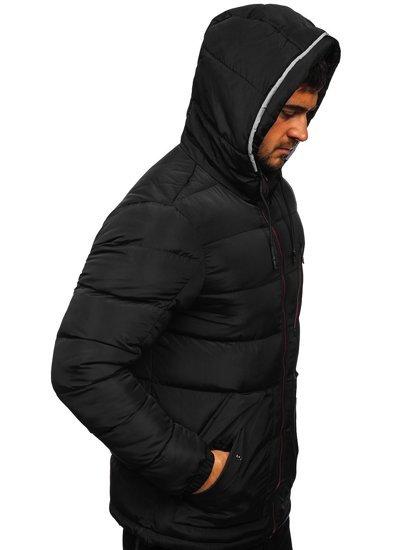 Czarna pikowana kurtka męska zimowa z kapturem Denley 1181