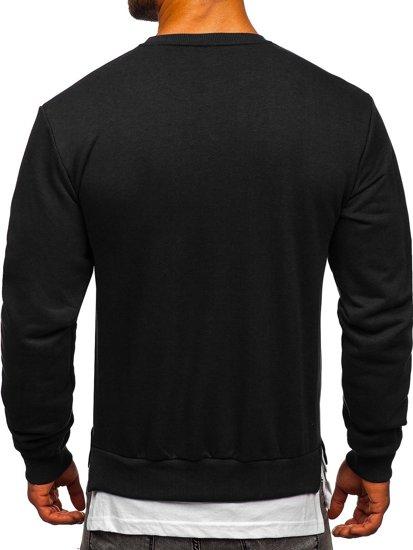 Czarna z nadrukiem bluza męska bez kaptura Bolf 181905