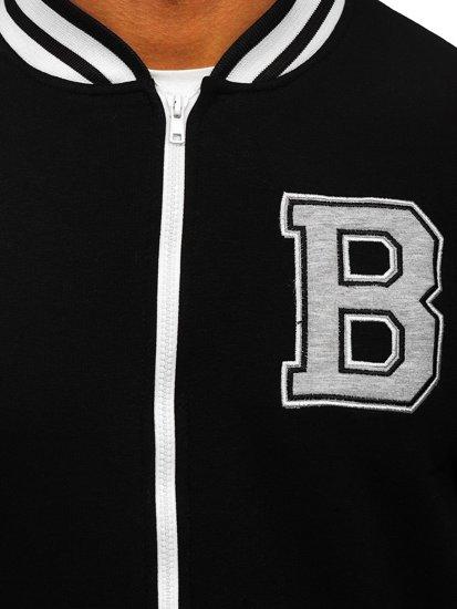 Czarna z nadrukiem bluza męska bez kaptura rozpinana Bolf BF10