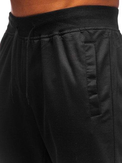 Czarne dresowe spodnie męskie Denley HH01