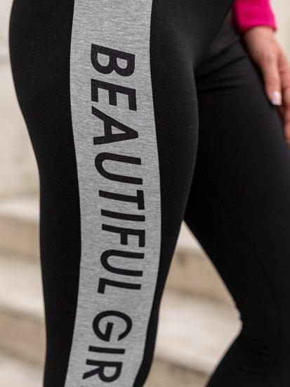 Czarne legginsy damskie z nadrukiem Denley 82109