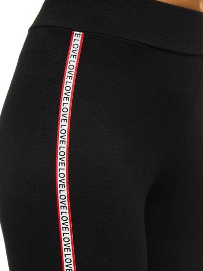 Czarno-czerwone legginsy damskie z nadrukiem Denley W82326