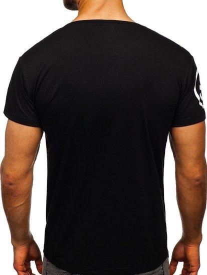 Czarny T-shirt męski z nadrukiem Denley KS1952