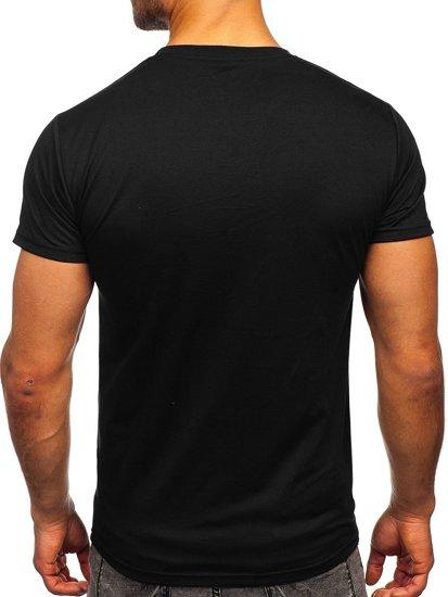 Czarny T-shirt męski z nadrukiem Denley KS2369