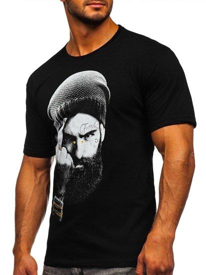 Czarny t-shirt męski z nadrukiem Bolf 142175