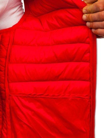 Czerwona pikowana kamizelka męska z kapturem Denley LY36