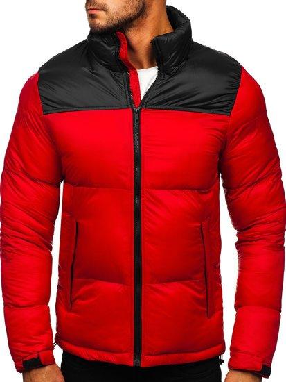 Czerwona pikowana kurtka męska zimowa Denley 1186