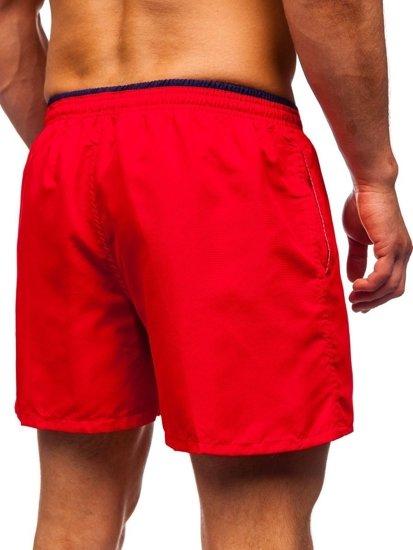 Czerwone krótkie spodenki kąpielowe męskie Denley 303