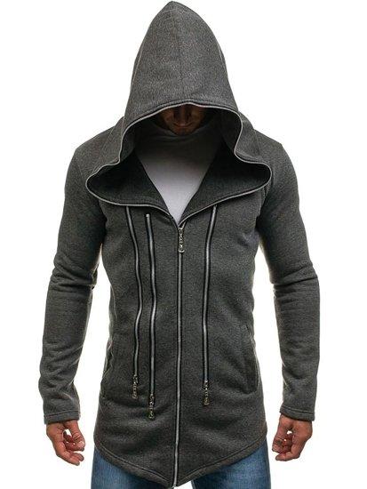 Długa bluza męska z kapturem antracytowa Denley Y36-2