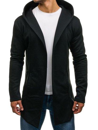 Długa bluza męska z kapturem czarna Denley 2038