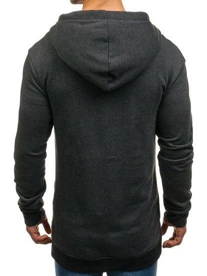 Długa bluza męska z kapturem rozpinana grafitowa Denley 0891