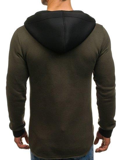 Długa bluza męska z kapturem rozpinana zielona Denley 171626