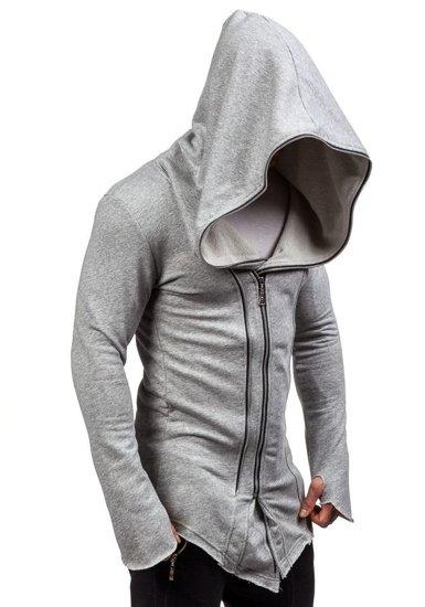 Długa bluza męska z kapturem szara Denley 2036-1