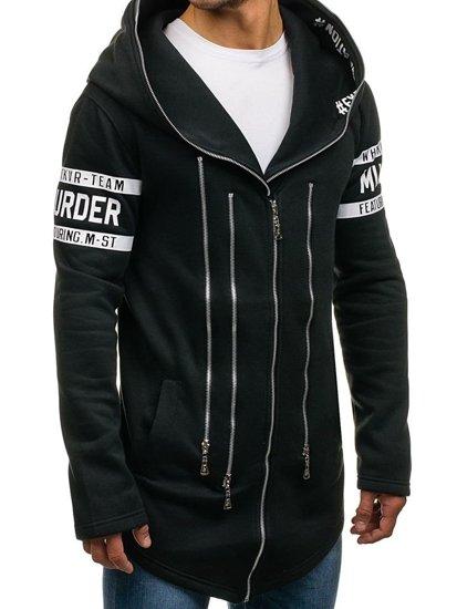 Długa bluza męska z kapturem z nadrukiem czarna Denley Y36-3