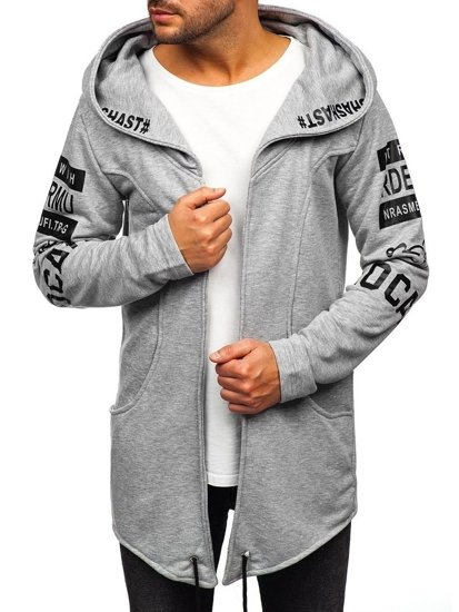 Długa bluza męska z kapturem z nadrukiem szara Denley 11110