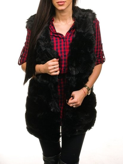 Futrzana kamizelka damska czarna Denley MF201