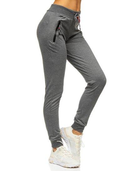 Grafitowe spodnie dresowe damskie Denley 5