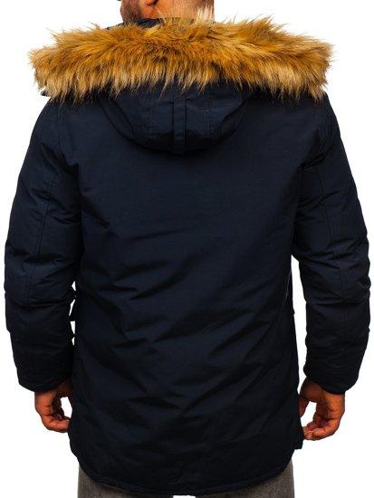Granatowa kurtka męska zimowa parka Denley 1173