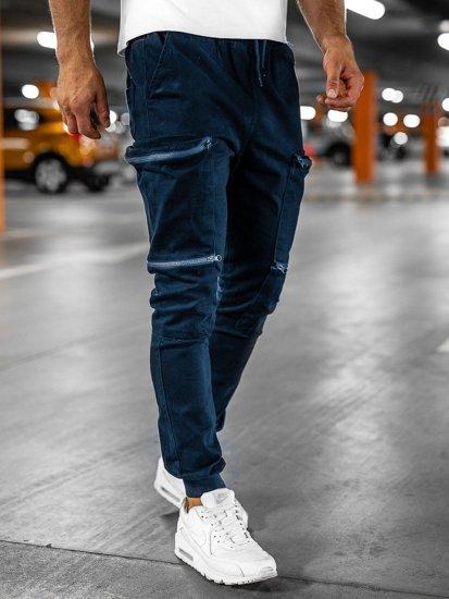 Granatowe spodnie joggery bojówki męskie Bolf 0475