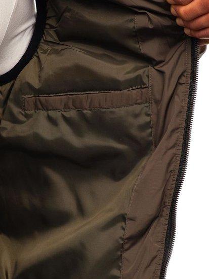 Kamizelka męska z kapturem khaki Denley 5803