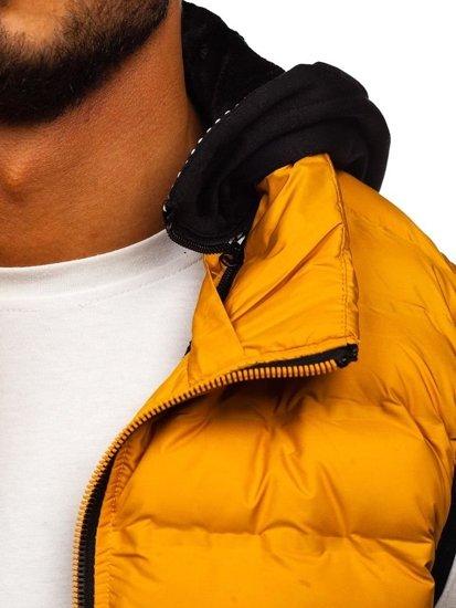 Kamizelka męska z kapturem żółta Denley 5802