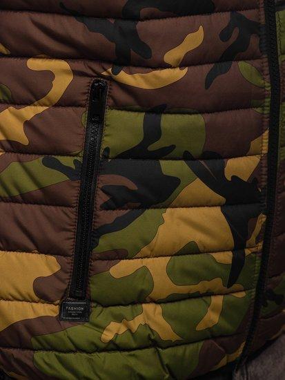Khaki pikowana kamizelka męska z kapturem Denley 6701