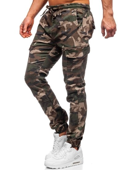 Khaki spodnie joggery bojówki moro męskie Denley RB8216XT