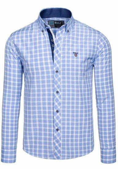 Koszula męska elegancka w kratę z długim rękawem błękitna Bolf 4747-1