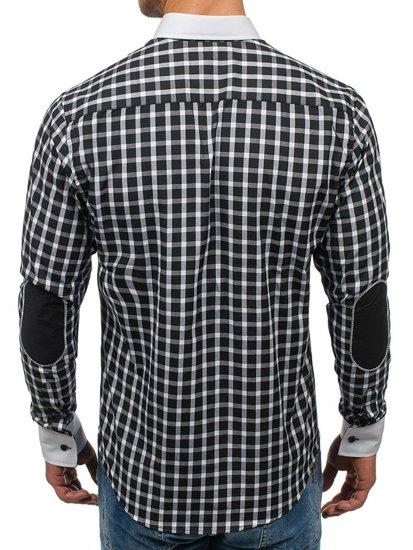 Koszula męska elegancka w kratę z długim rękawem czarna Bolf 5737