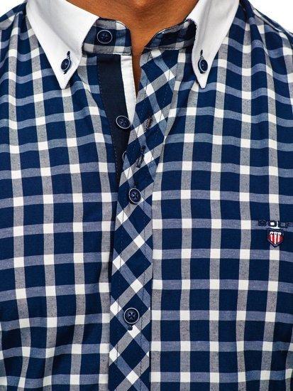 Koszula męska elegancka w kratę z długim rękawem granatowa Bolf 5737