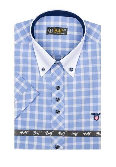 Koszula męska elegancka w kratę z krótkim rękawem błękitna Bolf 5531