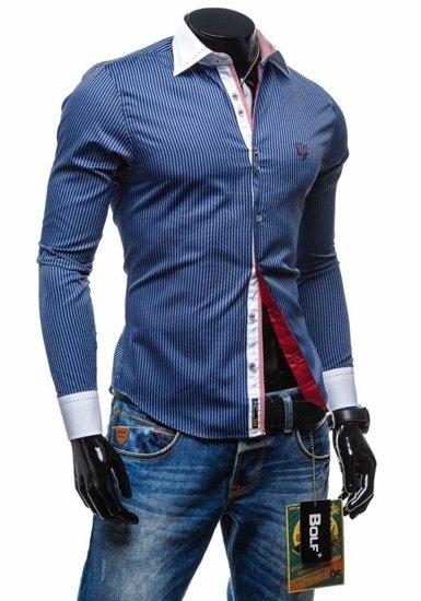 Koszula męska elegancka w paski z długim rękawem granatowa Bolf 4784-1