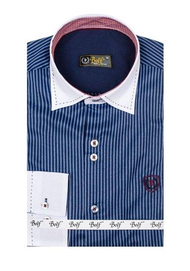 Koszula męska elegancka w paski z długim rękawem granatowa Bolf 4784-A